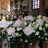 allestimento floreale per matrimonio Santuario di Alzate Brianza - Ortensie rosa e lisianthus