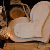 home decor - cuore di legno bianco da appendere